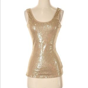 Express Gold Sequin Tank Size: Small